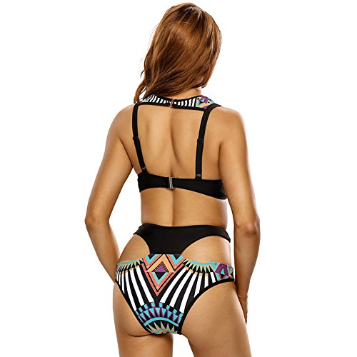Erica Set de bikini halter de las mujeres Vintage impresión de alta subida de dos piezas Set Swimsuit Underwire acolchado Bra Negro Black
