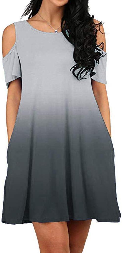 Covermason Mujer Manga Corta Hombro frío Top túnica Camiseta con ...