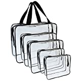 5 Packs Clear Cosmetics Bag Make-up Bags Organizers, Wobe PVC Zippered Toiletry Carry Pouch Portable Makeup Bag for Vacation Travel, Bathroom and Organizing Waterproof Makeup Zipper Bag Vinyl Plastic