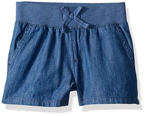 The Children's Place Big Girls' Slim Solid Knit Waistband Short, Denim, 6S