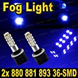 Pair Ultra Blue 880 36-SMD LED Headlight Bulbs For Drivin...