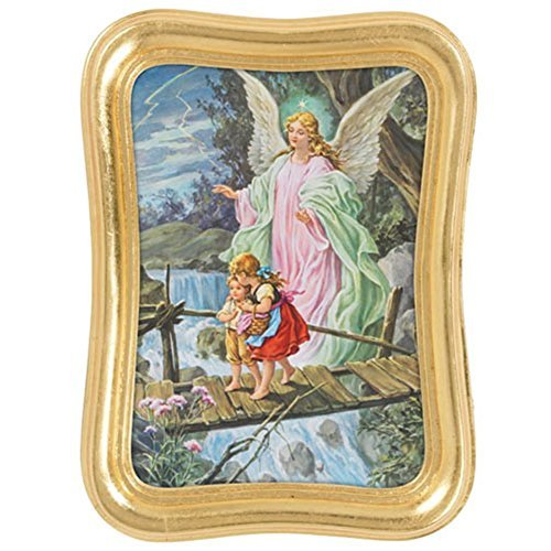 Guardian Angel with Children Picture 8 Inch Print in Gold Leaf Frame by Christian Brands