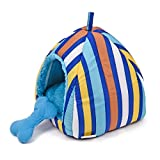 Colorful Stripes Plush Dome Dog Bed Soft Igloo Cat Tent Snooze Pad & Toy For Cats & Dogs Warm Pet House Blue Small (10.6'' x 10.6'' x H11.0'')