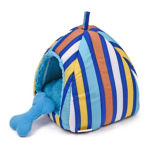 Colorful Stripes Plush Dome Dog Bed Soft Igloo Cat Tent Snooze Pad & Toy For Cats & Dogs Warm Pet House Blue Small (10.6'' x 10.6'' x H11.0'') by American Trends (Image #1)