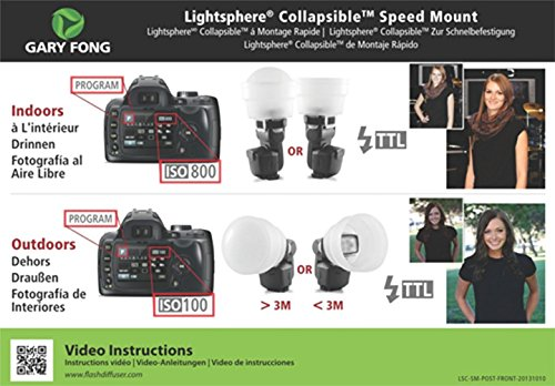 Gary Fong Collapsible Speed Mount Light Sphere (White) + Gary Fong AMBDOM AmberDome For CANON Speedlite 600EX-RT,90EX,320EX,270EX ll,580EX II, 430EX II + Lambency Orange Flash Diffuser Cover