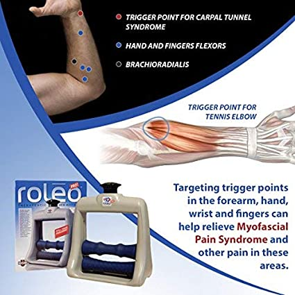 Roleo Hand and Arm Massager for Tennis Elbow Treatment - Hand, Wrist and Arm Trigger Point Massager - Deep Tissue Massager for Muscle Pain Relief