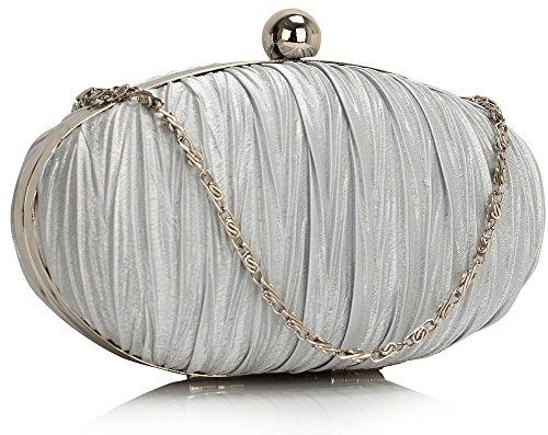 Handbag Bags Hardcase Design New Satin Designer Box 1 Bridesmaid Evening Clutch Ruched Women Ladies Silver Design UvIWw
