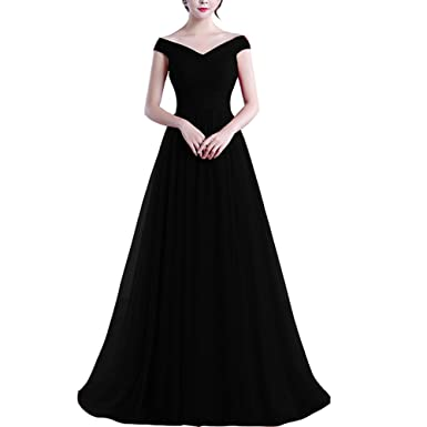 Off Shoulder Tulle Pleats Simple Long Prom Evening Dress Bridesmaid Gown  Black US 2 e1a34c290