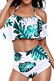 Heat Move Women Retro Flounce High Waisted Bikini Halter Neck Two Piece Swimsuit (White, Large)