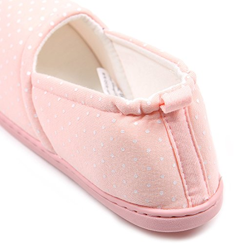 House Slippers Sole Comfortable Women Anti Soft Indoor Shoes Pink Washable Dot ChicNChic Cotton Slip wPgxYn