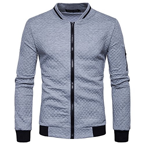 SHDAS Men's Slim Fit Zip Up Square Pattern Quilted Bomber Jacket