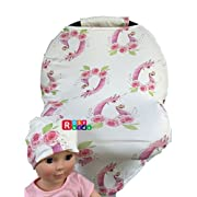 Rosy Kids Stretchy Infant Car Seat Canopy Cover, Jersey Car Seat Cover Elastic Nursing Scarf Privacy Cover with Matching Car Seat Handle Cover and Baby Hat, Color08JY20