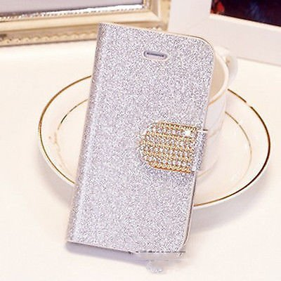 Popular Crystal Diamond Glitter Bling Flip Wallet Stand Case Cover 6 Colors For Iphone 4 4S