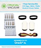 Oreck XL 1 Year Service Kit, Includes 8 CC Bags, 2 XL Belts, 1 Roller Brush & 10 Scent Tablets, Compare to Part # CCPK8, CCPK8DW, 030-0604 & XL010-0604, Designed & Engineered by Think Crucial