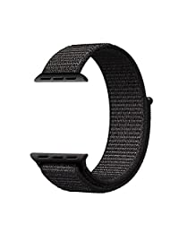Apple Watch Band 42mm Woven Nylon Sport Loop Replacement iWatch Band Wrist Strap with Hook and Loop Fastener Adjustable Closure for iWatch Apple Watch Series 3,2,1 by Icear (42mm, Black)