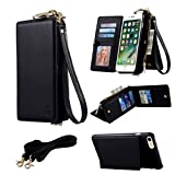 "iPhone 7 (2016) 4.7"" Advanced PU Leather Wallet Case - TYoung Premium Magnetic Flip Cover Detachable Multi-function Handbag Mini Shoulder Bag Zipper Wallet Purse with Credit Card Slots - Black"