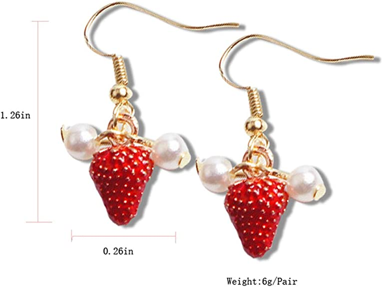 Gold Decorated Ceramic Strawberry Dangle Earrings Statement Earrings Handmade