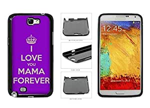 I Love You in Mama Forever With Crown On with Purple Background Plastic Phone Case Back Cover For Samsung way Galaxy Note II 2 well N7100