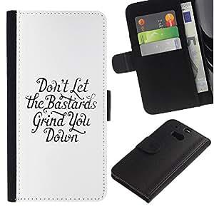 iBinBang / Flip Funda de Cuero Case Cover - Motivación inspirada Bastards Cita Fuerza - HTC One M8