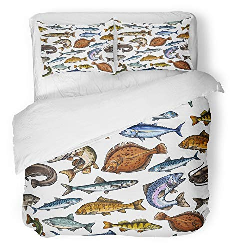 Emvency 3 Piece Duvet Cover Set Brushed Microfiber Fabric Breathable Sea and Freshwater Fish Blue Marlin Tuna Salmon and Trout Mackerel and Pike Bedding Set with 2 Pillow Covers Twin Size