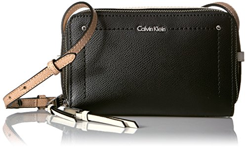 Zip Leather Crossbody Around Mercury Black Calvin Combo Klein Boxy wqHCZ