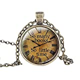 "FM42 So many books So little time Round Pendant Necklace with 26"" Rolo Chain (4 Styles)"