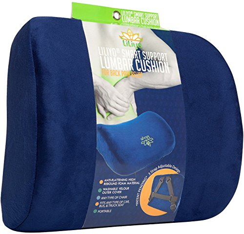 Smart Lumbar Support Back Cushion Pillow - for Lower Back Pain Relief, Everlasting Comfort, Ergonomic 3-Strap System (Blue) by LILIYO