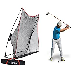 Rukket 10x7ft Haack Golf Net | Practice Driving Indoor & Outdoor | Golfing At Home Swing Training Aids | By Sec Coach Chris Haack