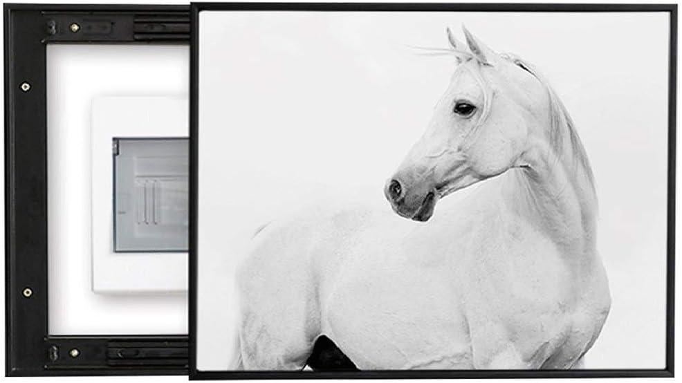 Cuadro decorativo de caja simple de caballo Cuadro decorativo, cubierta de grietas de la mancha de la pared de la sala de estar Pintura abstracta de push-pull vertical, caja de conexiones multimedia C
