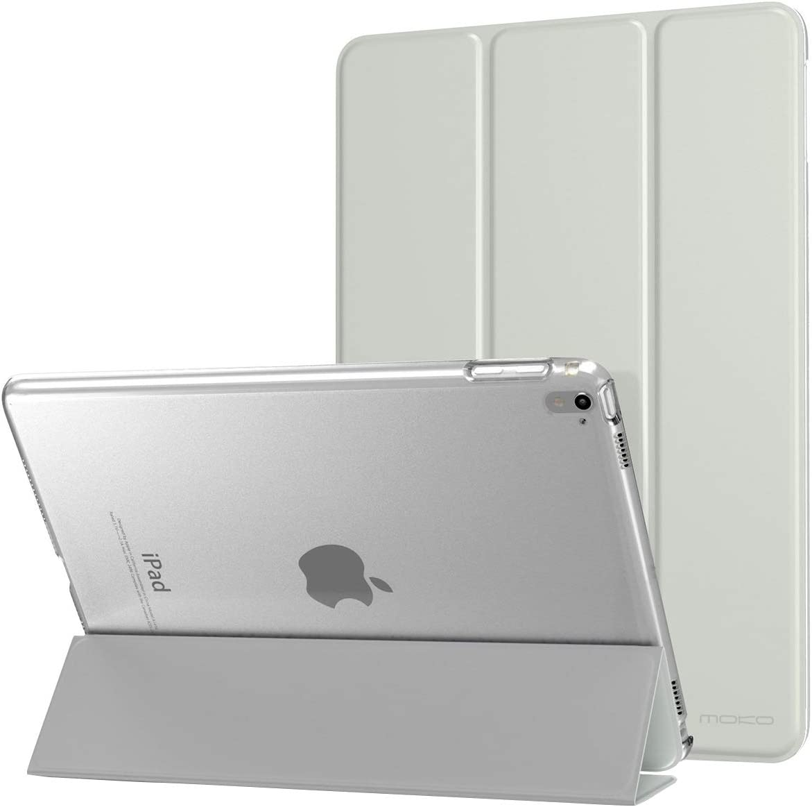 MoKo Case Fit iPad Pro 9.7 - Slim Lightweight Smart Shell Stand Cover with Translucent Frosted Back Protector Fit iPad Pro 9.7 Inch 2016 Release Tablet, Silver (with Auto Wake / Sleep)