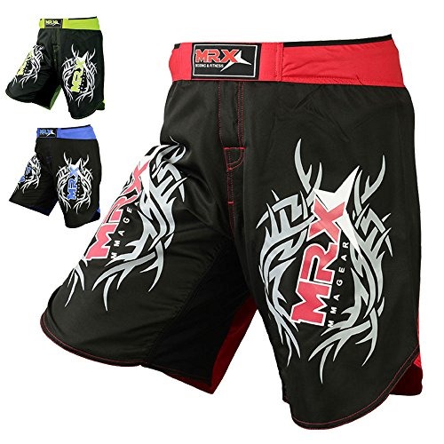 orts Stretch Penals Grappling UFC Cage Fighting Muay Thai Kickboxing Trunks (Black Red, Large) ()