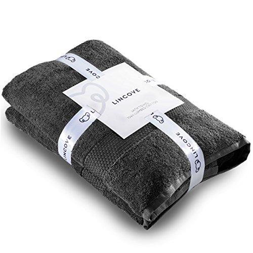 Lincove 100% Turkish Cotton Luxury Bath Towel for Bathroom - Hotel & Spa Luxury Large Bath Towel 600 GSM, Highly Absorbent & Eco Friendly - Made in Turkey (Dark Grey, Bath Towel)