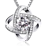 """Jewelry Sterling Silver Pendant Necklace J.Rosée Round Necklace """"Never Ever Be Apart"""" Exquisite Gift Package (45cm+3)"""