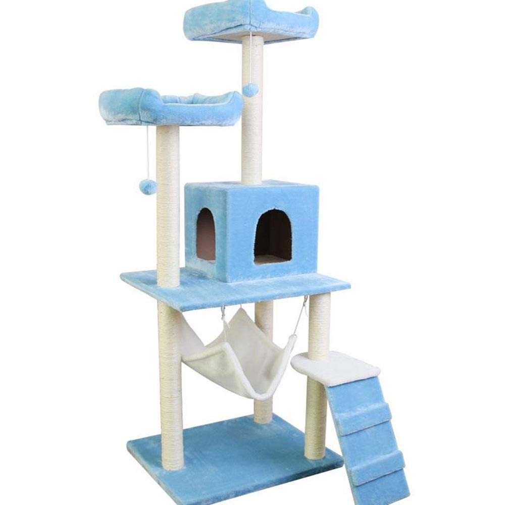 bluee 6050155cmPET HOME Cat Climbing Frame Sisal Cat Nest Grinding Claw Cat Scratch Column Multilayer Platform (color   GREEN, Size   60  50  155cm)