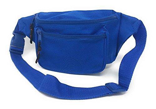 1015-Royal Fanny Pack Purse Travel Pouch Money Passport ID Zipper Waist Belt Bag 3 Pockets from Unknown