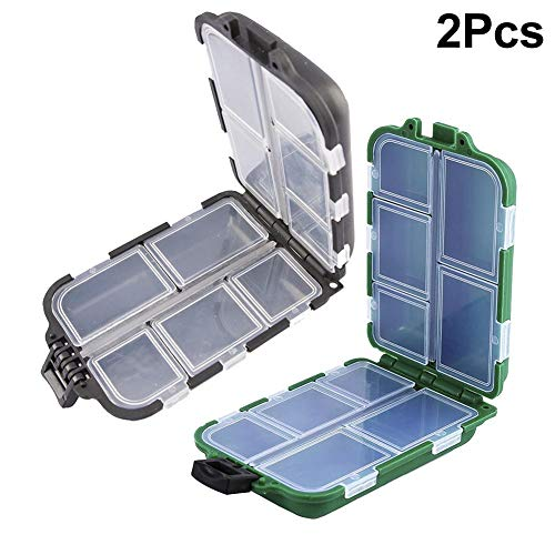 oxes, 10 Compartments Plastic Storage, Hook/Bait Tackle Box, Small Lure Case, Fishing Accessory Container Hook Box ()