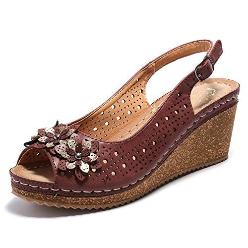 - Alexis Leroy Women's Flower Peep Toe Hollow Out Slingback Platform Wedge Sandals Brown 9-9.5 M US