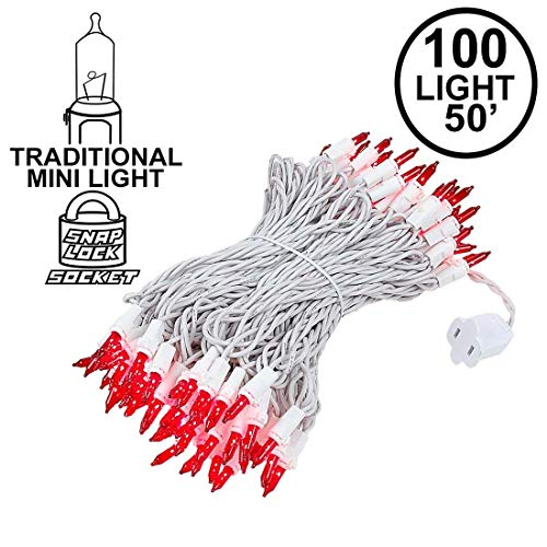 Novelty Lights 100 Light Red Christmas Wedding Mini String Light Set, White Wire, Indoor/Outdoor UL Listed, 50 Long
