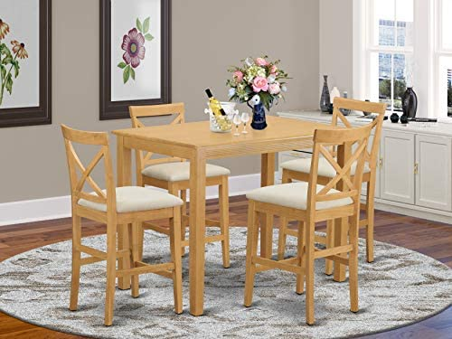 YAPB5-OAK-C 5 Pc counter height Dining set – high top Table and 4 Dining Chairs.