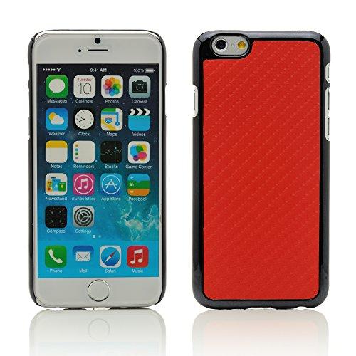 """iProtect housse de protection dur Hard Case en optique charbon Apple iPhone 6 (4,7"""") en noir + rouge"""