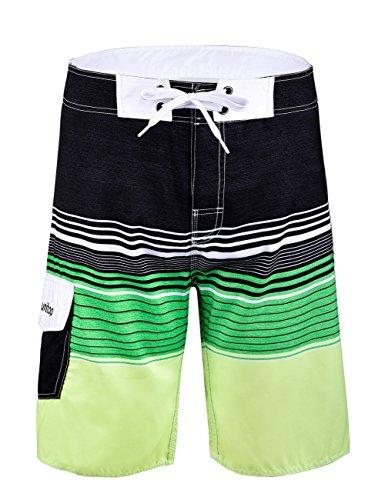 Unitop Men's Board Shorts Striped Plaid Swim Shorts Quick Dry Black&Green-40