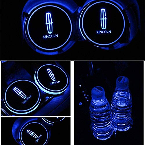 ATlife LED Car Logo Cup Holder Pad Waterproof Bottle Drinks Coaster Built-in Light 7 Colors Changing USB Charging Mat Auto LED Cup Mat Car Atmosphere Lamp 2PCS (for Lincoln)