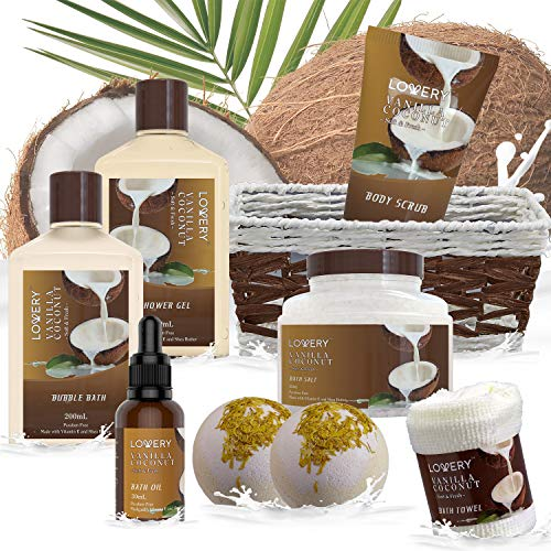 Bath and Body Gift Basket For Women and Men – 9 Piece Set of Vanilla Coconut Home Spa Set, Includes Fragrant Lotions…