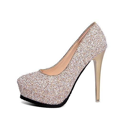 AalarDom Damen Eingelegt Stiletto Rund Zehe Ziehen Auf Pumps Schuhe mit Paillette Golden-Pailletten