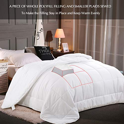 EMONIA Full/Queen Size Comforter for Summer,White Quilted Down Alternative Duvet Insert-Hotel Collection Reversible Hypoallergenic Light and Machine Washable by EMONIA (Image #4)