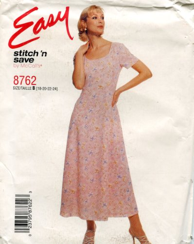 McCall's Easy Stitch 'N Save Pattern 8762 ~ Misses' Pullover Princess Seam Dress ~ 18-24