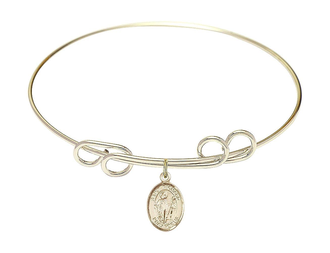 DiamondJewelryNY Double Loop Bangle Bracelet with a St Richard Charm.
