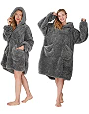 Winthome Oversized Blanket Hoodie Wearable Blanket Sweatshirt with Pockets and Sleeves Soft & Warm Oversized Sweatshirt Blanket for Adults Women and Men (Drak Grey, L)