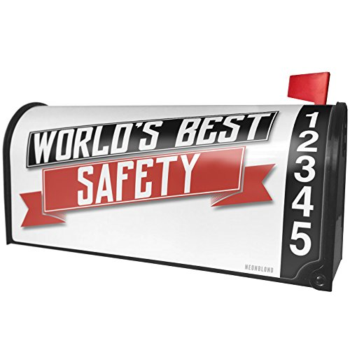 NEONBLOND Worlds Best Safety Magnetic Mailbox Cover Custom Numbers by NEONBLOND
