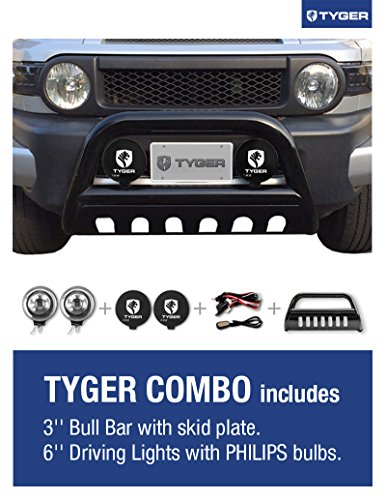 TYGER Combo Fits 05-07 Excursion/05-07 Ford SuperDuty.(The Kit Includes: 3inch Black Bumper Grille Guard Bull Light Bar with Skid Plate + 6inch Offroad Driving/Fog Lights with 55W PHILIPS bulbs & Covers & Wiring Harness Kit.)